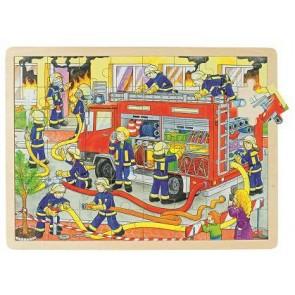 Puzzle bois 48 pièces  Les pompiers