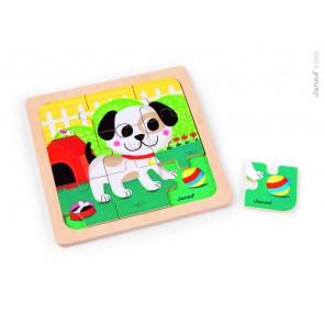 Puzzles bois 9 pièces - Titus le chien