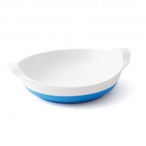 Assiette mélamine blanche  base antidérapante bleue small-image