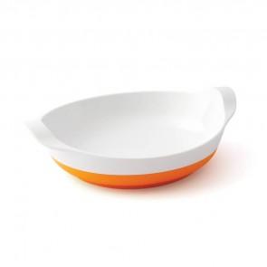 Assiette mélamine blanche  base antidérapante orange small-image