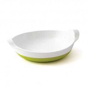 Assiette mélamine blanche  base antidérapante verte small-image